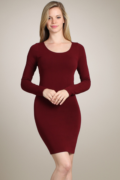 M-Rena women's long sleeve scoop-neck fitted Bodycon Dress
