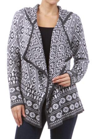 M-Rena Hoodie Long Sleeve Printed Knit Cardigan