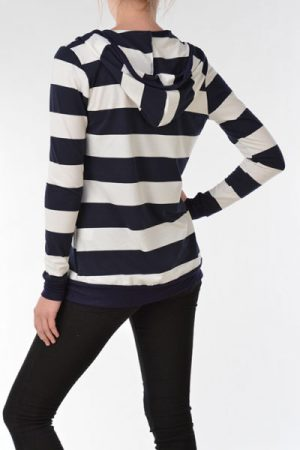 Hoodie Bold Stripe Light Weight Cardigan
