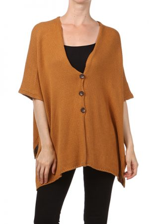 M-Rena Solid Buttoned Poncho
