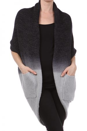 M-Rena Open Ombre Cocoon Knit Cardigan