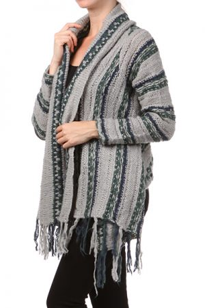 M-Rena Fringe Open Knitted Cardigan