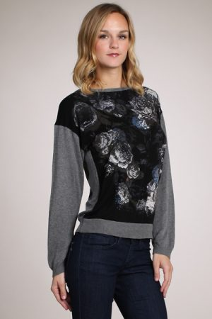 M-Rena Boat-neck Long Sleeve Floral Print Sweater Top