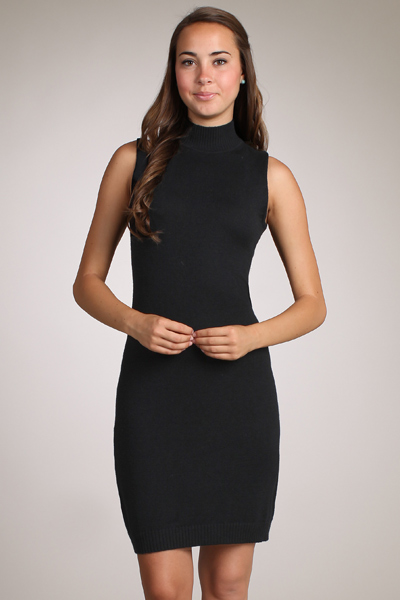 M-Rena Mock Neck Sleeveless Mini Sweater Dress