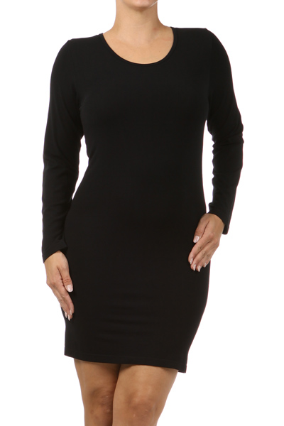 M-Rena Plus Size Long Sleeve Fitted Round Neck Seamless Dress