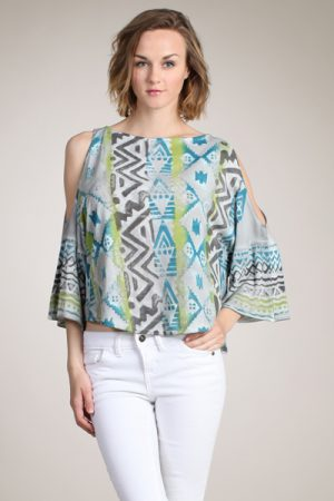 M-Rena Cutout Bell Sleeve Printed Top