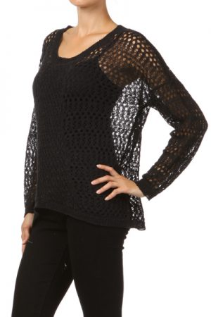 M-Rena High-Low Crochet Knit Long Sleeve Top