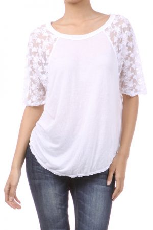M-Rena Lace Sleeve Lady Tee