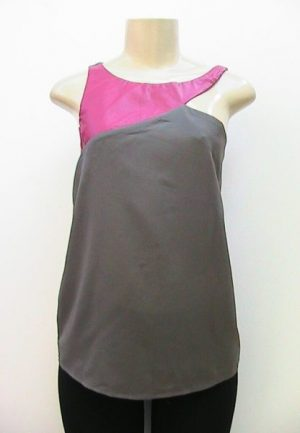 C.Luce Faux Leather Insets Sleeveless Top