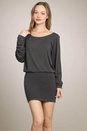 M-Rena Scoop Neck 3/4 Sleeves Seamless Blouson Mini Dress