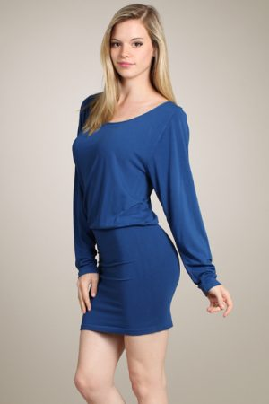 M-Rena Long Sleeve Seamless Blouson Mini Dress