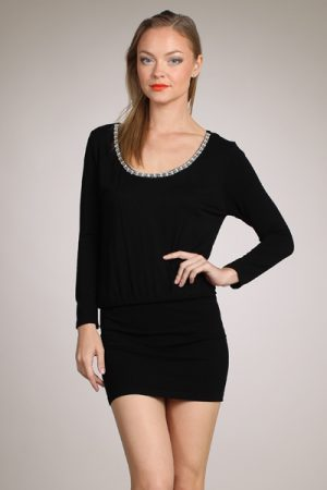 M-Rena Jeweled Scoop Neck Seamless Blouson Mini Dress