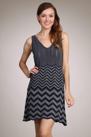 M-Rena V-neck Zigzag-Pattern Pointelle Knit Dress
