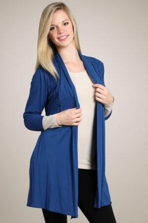 M-Rena Three-Quarter Sleeve Open Front Cardigan