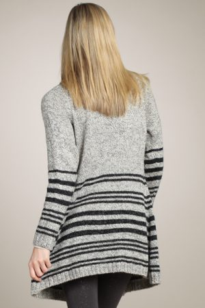M-Rena Super Soft Striped Shawl Collar Sweater