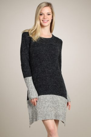 M-Rena Long Sleeve Color Block Zippered Sweater Dress