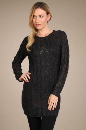 M-Rena Detachable Cowl Neck Tunic Sweater