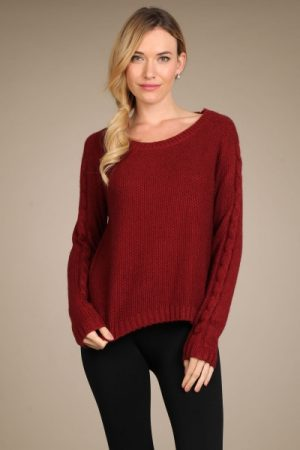 M-Rena Long Sleeve Cable Knit Sweater