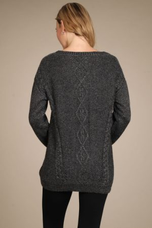 M-Rena Long Sleeve Cable Knit Swing Sweater