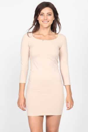 M. Rena 34 Sleeve Scoop Neck Bodycon Dress