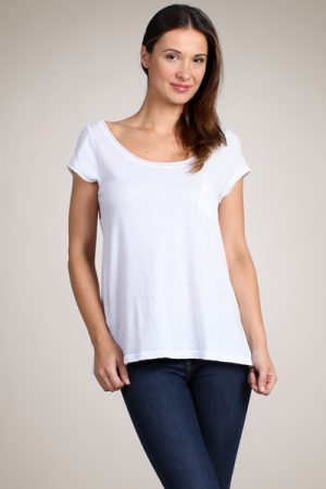 M-Rena Essential Scoop Neck Cotton Jersey Tee Top