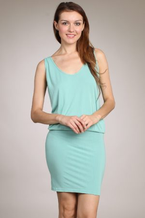 M-Rena Scoop Neck Sleeveless Blouson Mini Dress
