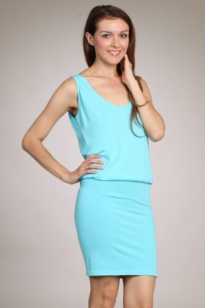 M-Rena Scoop Neck Sleeveless Blouson Mini Dress