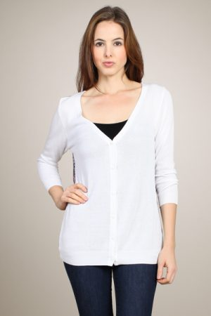 M-Rena Three-Quarter Sleeve Light Weight Cardigan