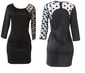 C.Luce Sexy Cocktail Dress with Polka Dots Mesh Sleeve