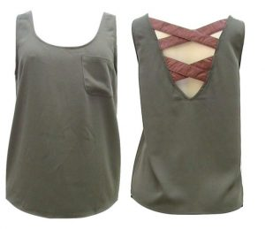 C.Luce Sexy Blouse W/ Cross Faux Leather Strap Accent at Back