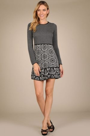 M-Rena Long Sleeve Flower Skirt Sweater Dress