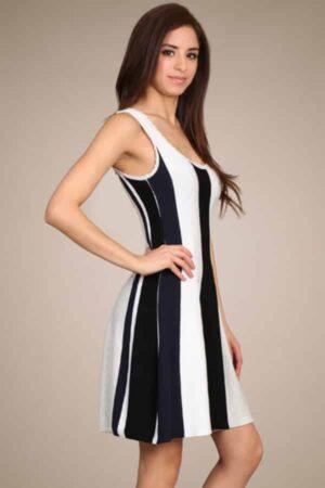 M-Rena Vertical Multi Stripe Knit Sleeveless Sweater Dress