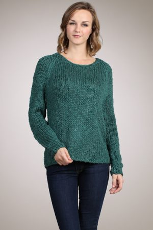 M-Rena Long Sleeve Mix Yarn Pull Over Crew Neck Sweater