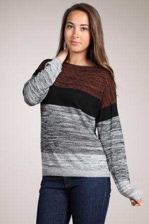 M-Rena Mixed Yarn Blocks Boat-neck lightweight Sweater Top