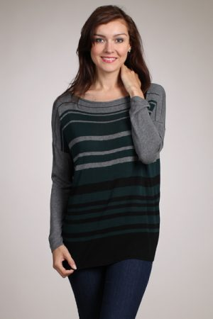 M-Rena Engineered Stripe Boatneck Sweater Top