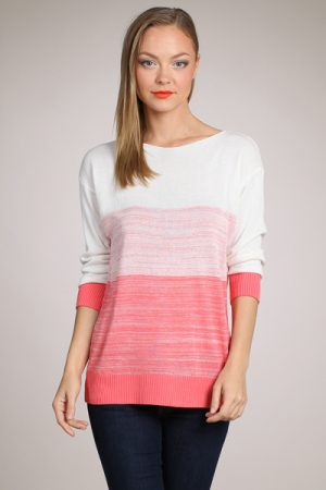 M-Rena Graduation Stripe Boat neck Sweater Top