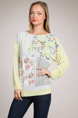 M-Rena Boat-neck Long Sleeve Floral Print Knit Sweater Top