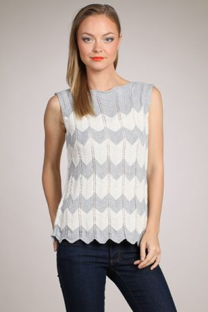 M-Rena Boat-neck Zigzag-Pattern Pointelle Knit Top