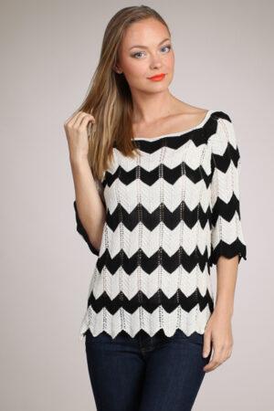 M-Rena Zigzag-Pattern Pointelle Knit Top