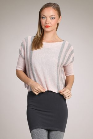 M-Rena Crop Boat Neck Vertical Stripe Poncho Sweater Top