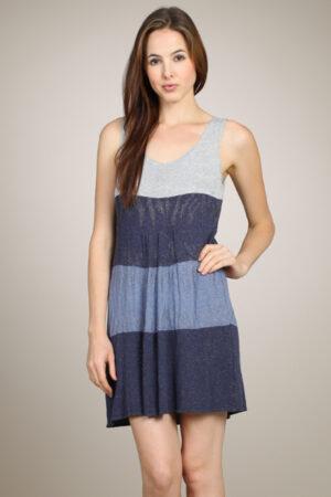 M-Rena Lurex Color Block Sleeveless Sweater Tunic Dress