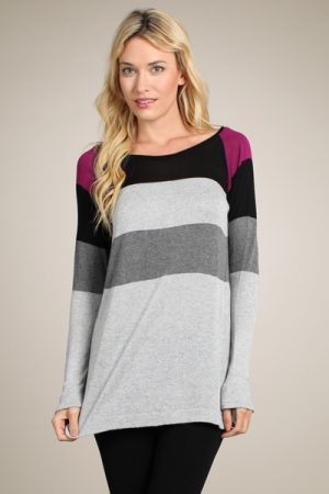M-Rena Bold Stripe Light Weight Sweater Tunic