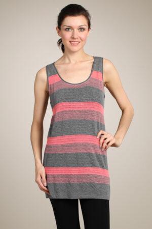 M-Rena Scoop Neck Stripe Mesh Crochet Tunic Tank