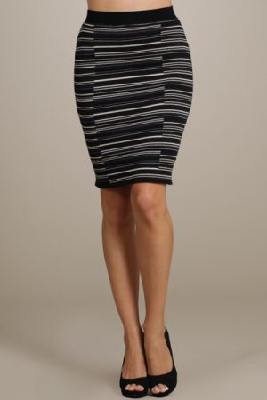 M-Rena Stretch-Knit Broken Stripe Pencil Skirt
