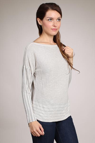 27a8e1e29a1f9 M-Rena Long Sleeve Stripe Boatneck Sweater Top