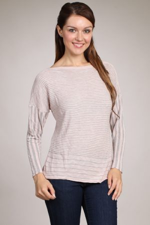 M-Rena Long Sleeve Stripe Boatneck Sweater Top