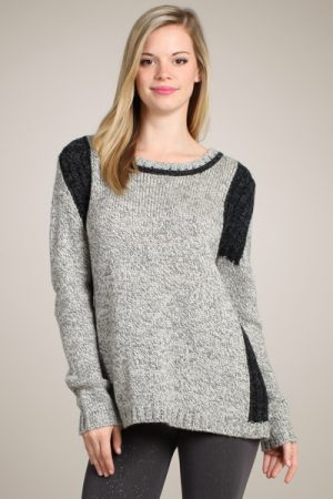 M-Rena Super Soft Color Blocked Knit Sweater