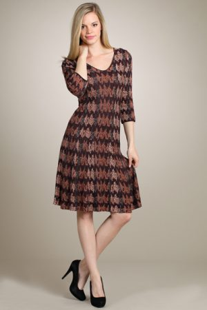 M.Rena Three-quarter Printed Knit Sweater Dress