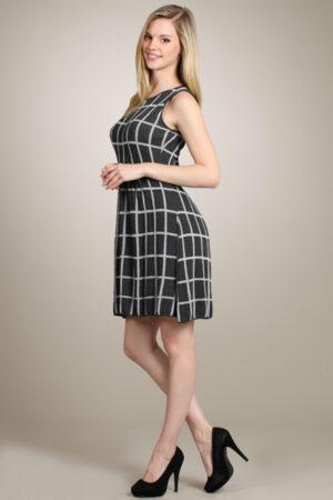 M.Rena Three-quarter Printed Knit Sweater Dress