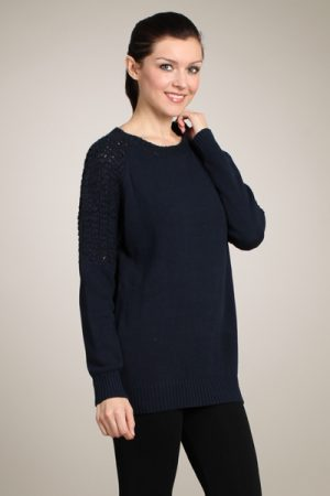 M-Rena Crocheted Sleeves Knitted Sweater